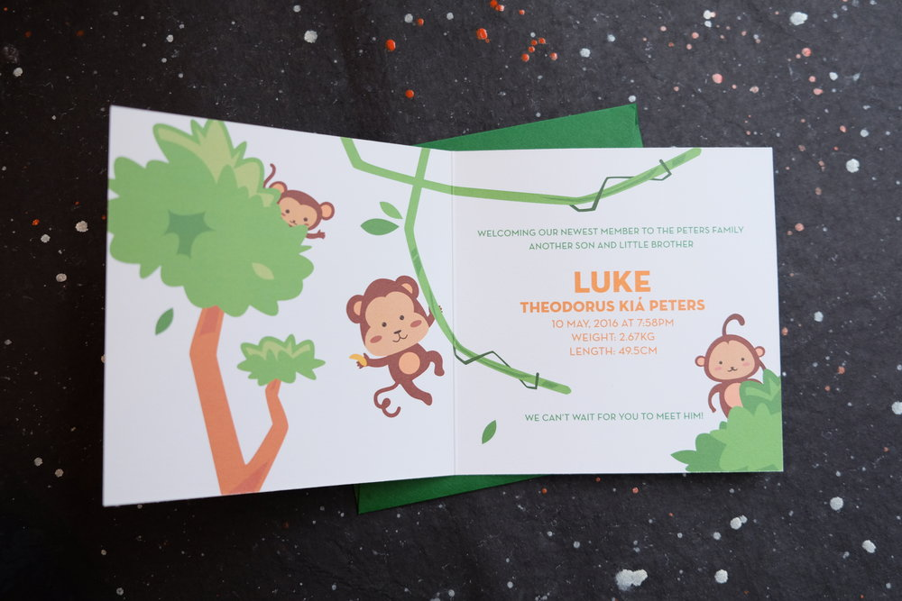 Monkey themed birth announcement card // designed by Chavelli www.chavelli.com