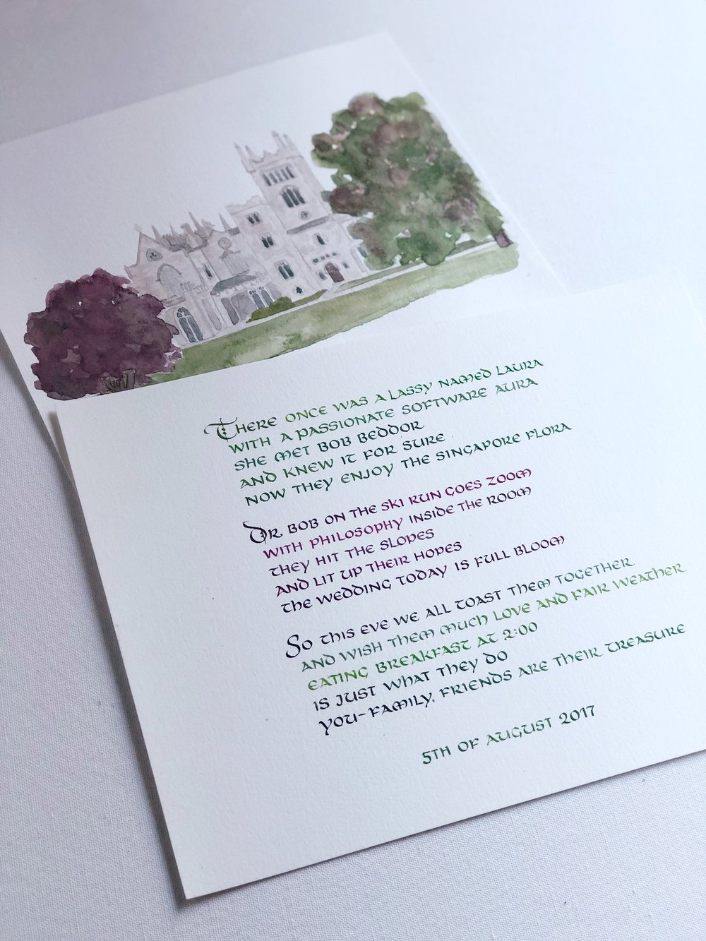 Calligraphy commission of a wedding limerick in ombre ink // designed and calligraphed by Chavelli www.chavelli.com
