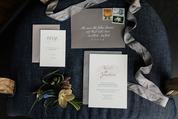 Simple and clean silver foil invitations