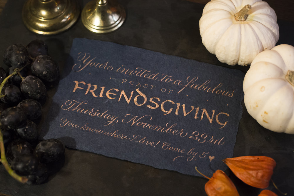 A casual and elegant Friendsgiving / Thanksgiving invitation. Hand calligraphy in script and uncial by Chavelli // www.chavelli.com