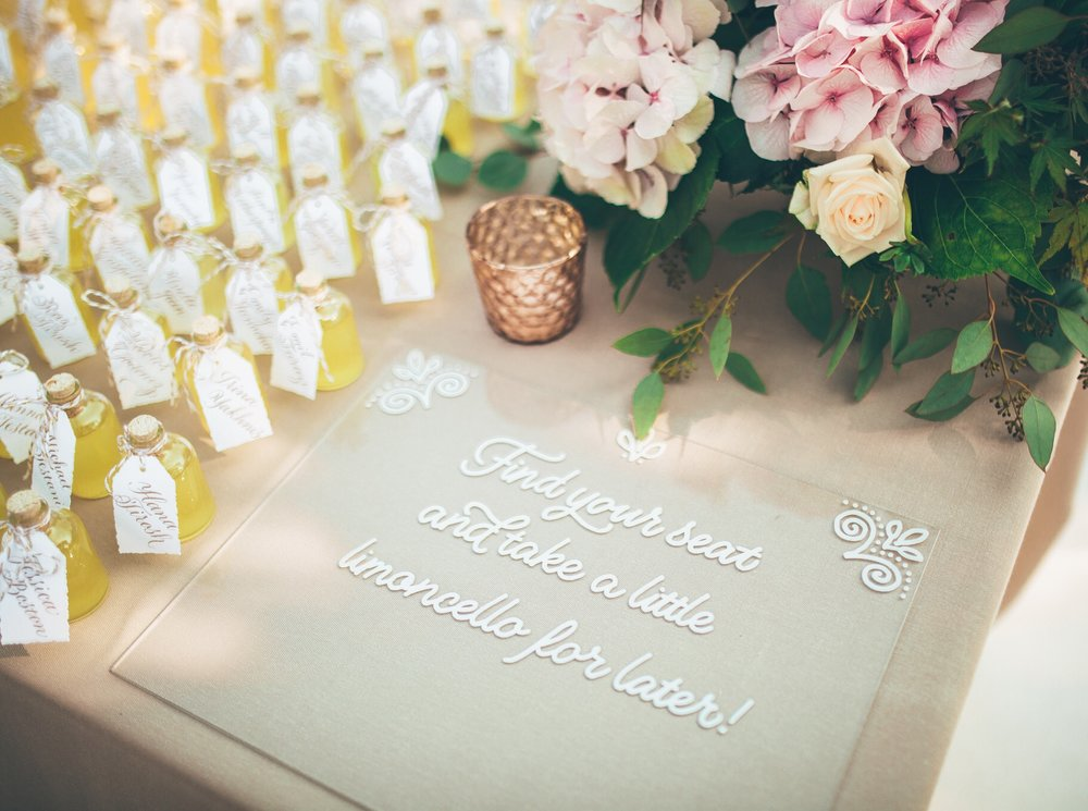 Hand lettering on clear lucite for wedding signage // by www.chavelli.com