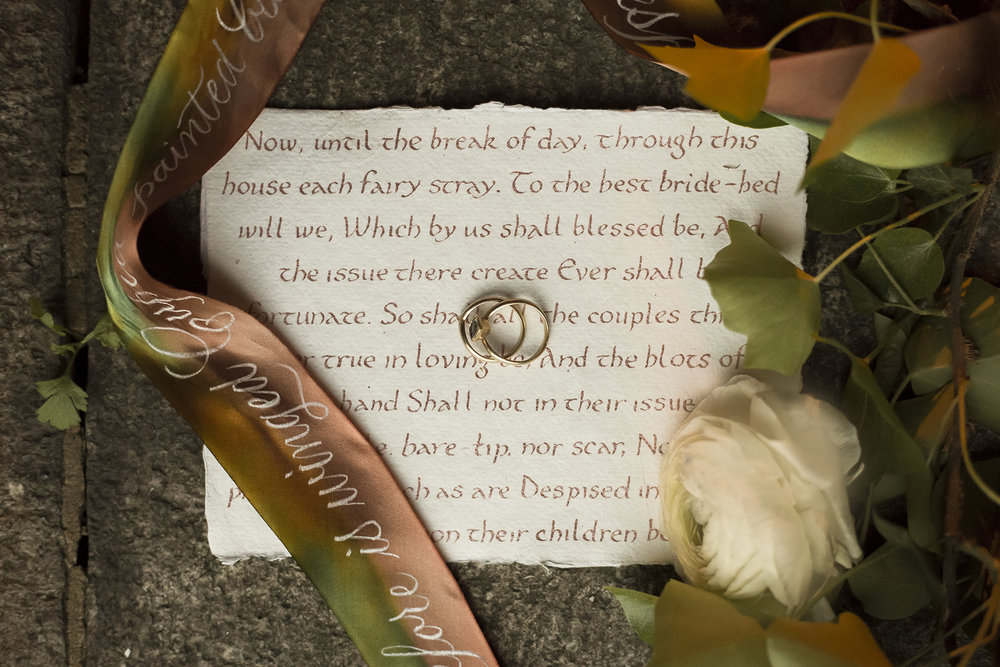 Midsummer Night's Dream inspired wedding shoot // historic Carolingian calligraphy in rose gold on hand-made paper // hand-painted silk ribbons with calligraphy // design and calligraphy by Chavelli www.chavelli.com