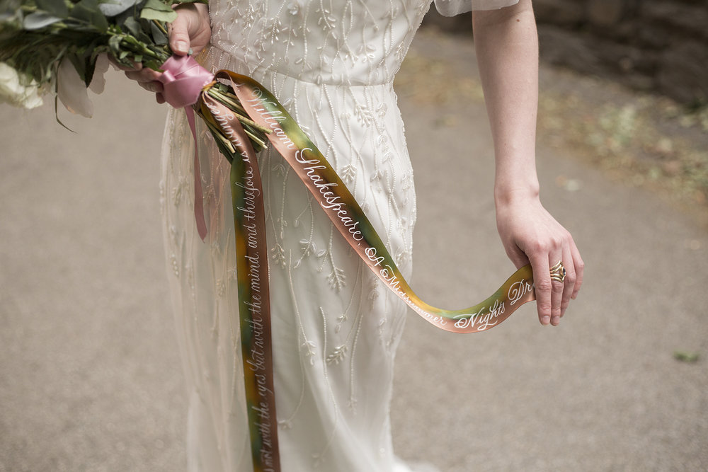 Midsummer Night's Dream inspired wedding shoot // hand-painted silk ribbons with calligraphy for bridal bouquests // design and calligraphy by Chavelli www.chavelli.com // photography by Rebecca Jeanson www.rjimagery.com