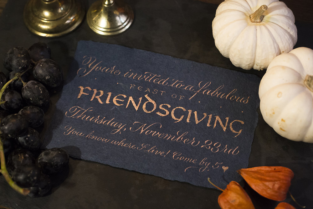 A Friendsgiving shoot // calligraphy by Chavelli www.chavelli.com // photography by www.rjimagery.com // styling by https://www.togethereventplanning.com/