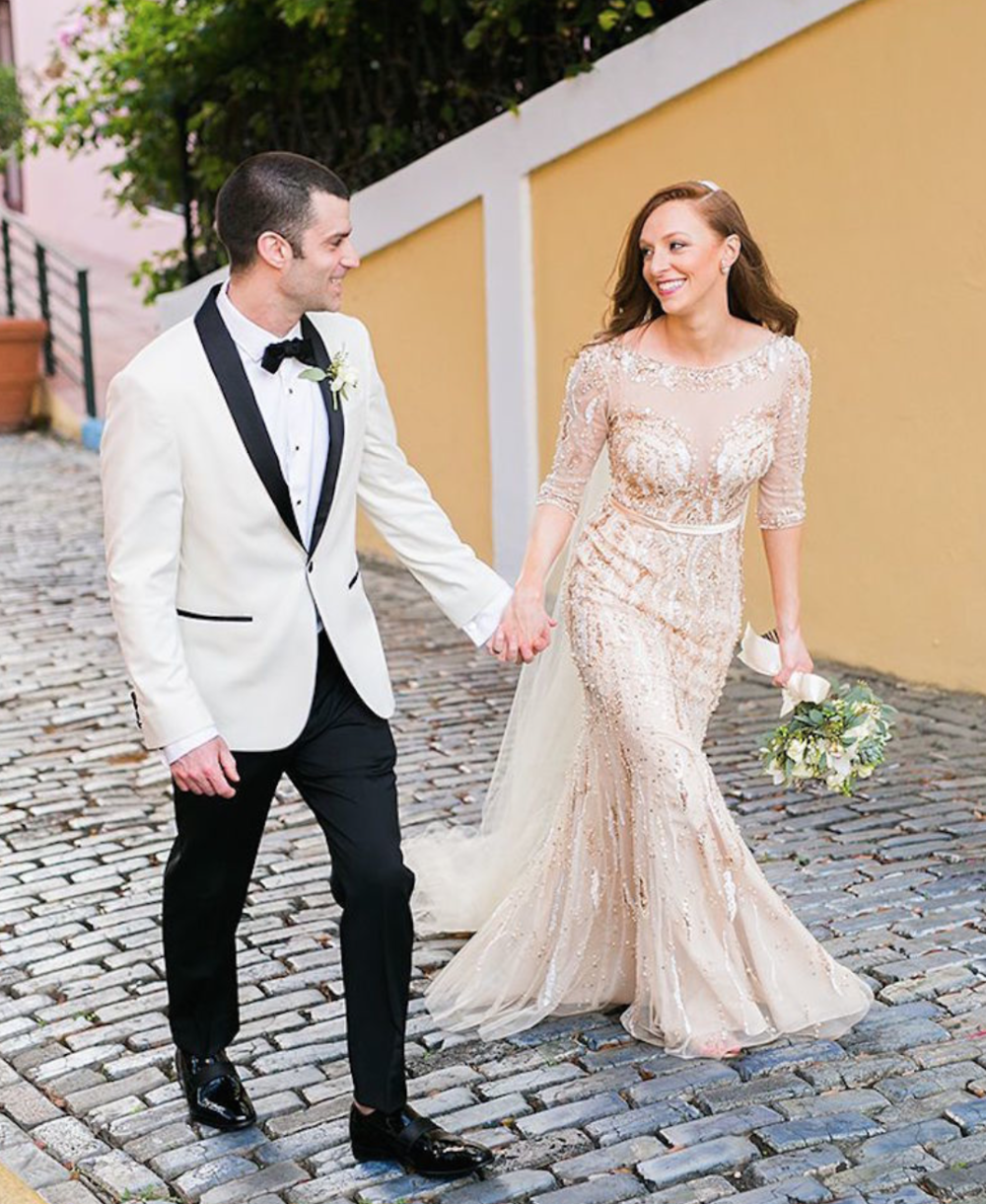 Beaded wedding gown |  Style Me Pretty