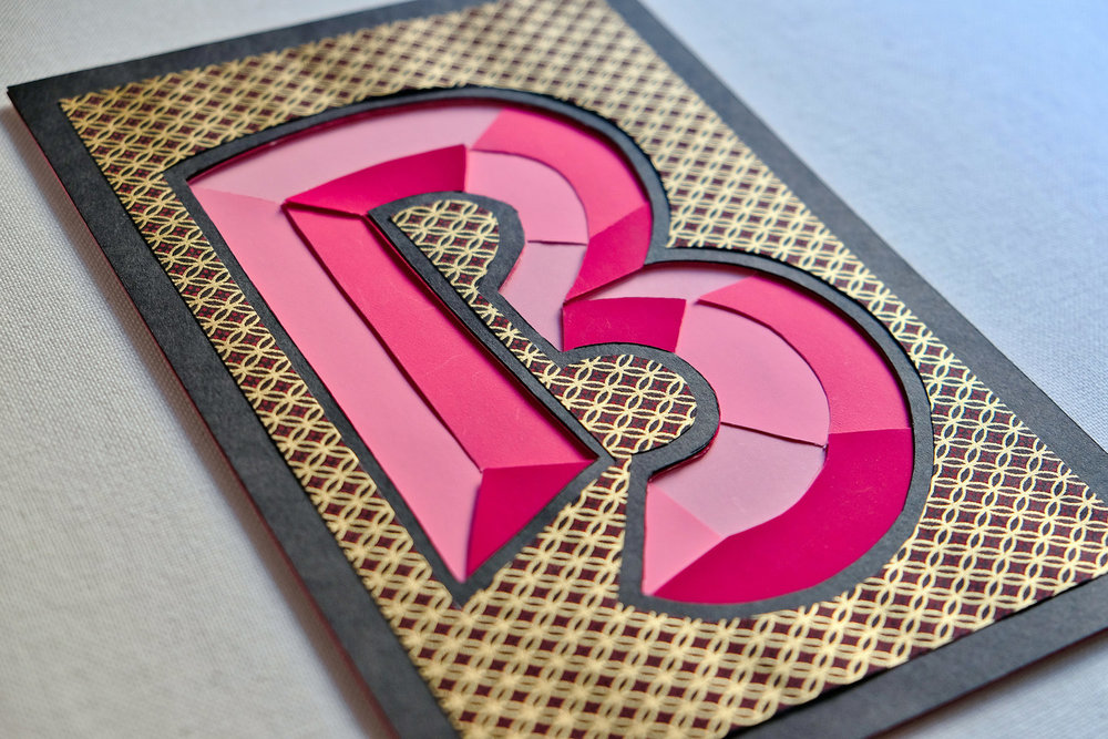 Three Dimensional, prismatic paper cut B // lettering by www.chavelli.com
