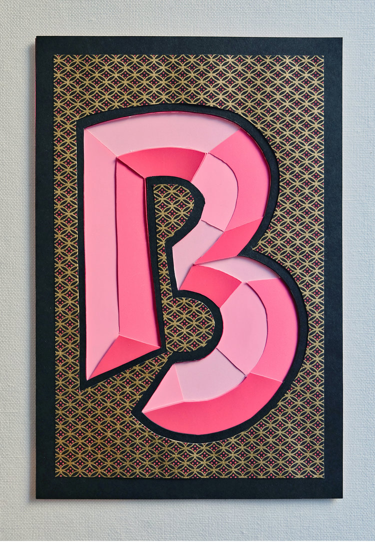 Three dimensional paper cut B // lettering by www.chavelli.com