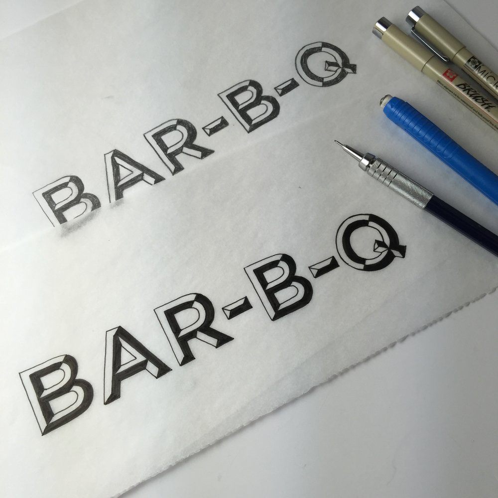 BAR-B-Q Lettering by Chavelli www.chavelli.com