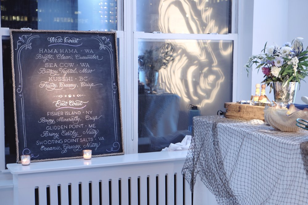 Custom calligraphy chalkboard menus for Oyster Bash NYC // by Studio Chavelli www.chavelli.com