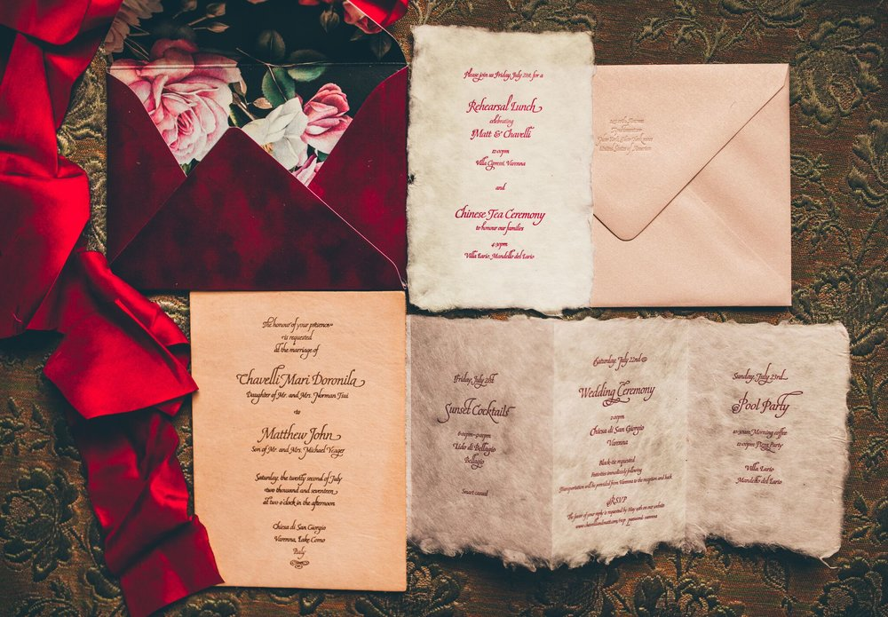 Leather wedding invitation with velvet envelope and hand-made paper for an elegant affair on Lake Como, Italy // Design by Studio Chavelli www.chavelli.com
