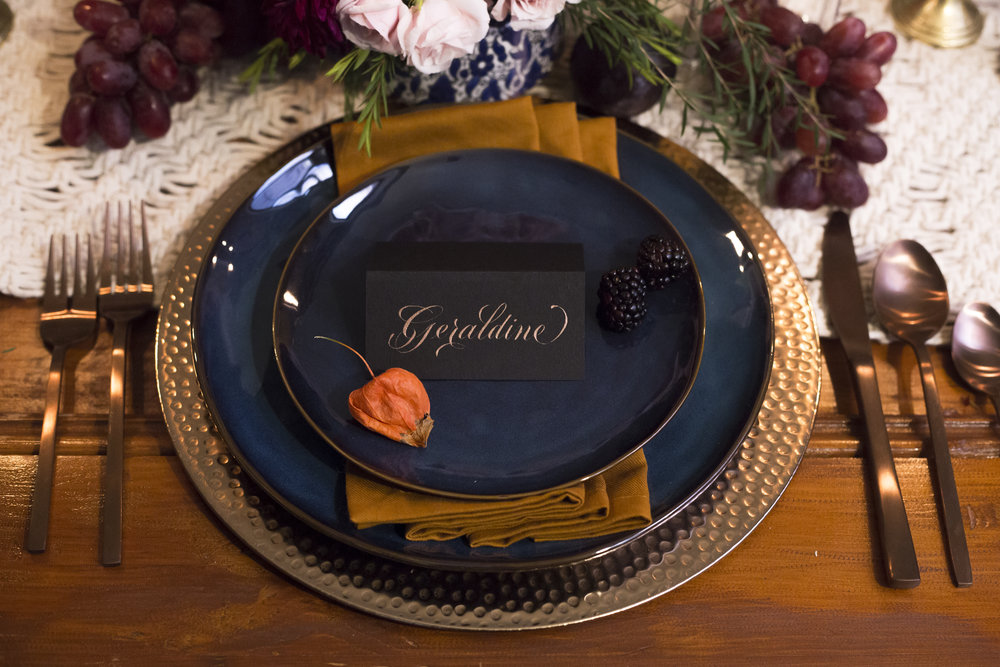 Romantic copper on black place cards // calligraphy by Chavelli www.chavelli.com