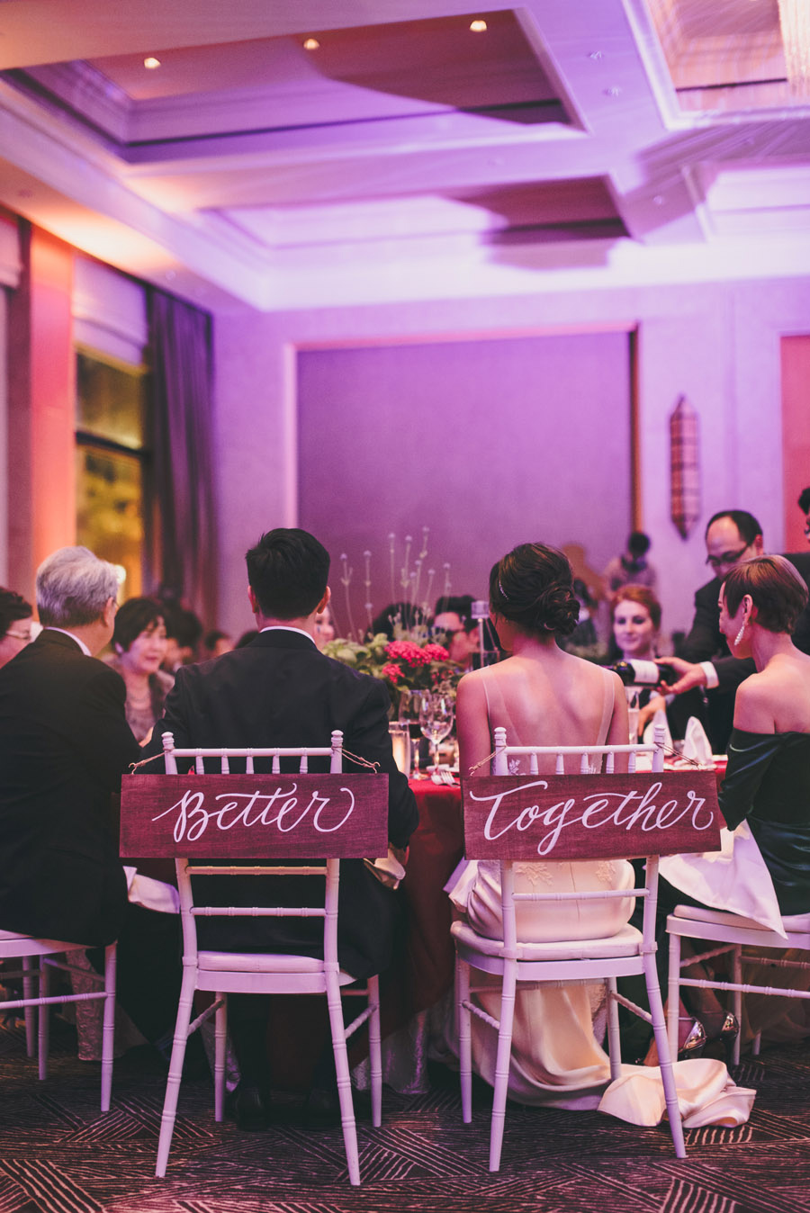 """Better Together"" lettering on wood for the bride and groom // calligraphy by Chavelli www.chavelli.com // photo by Justin Lim"