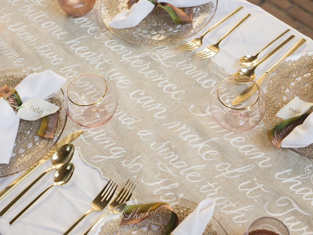 Hand-painted table runner