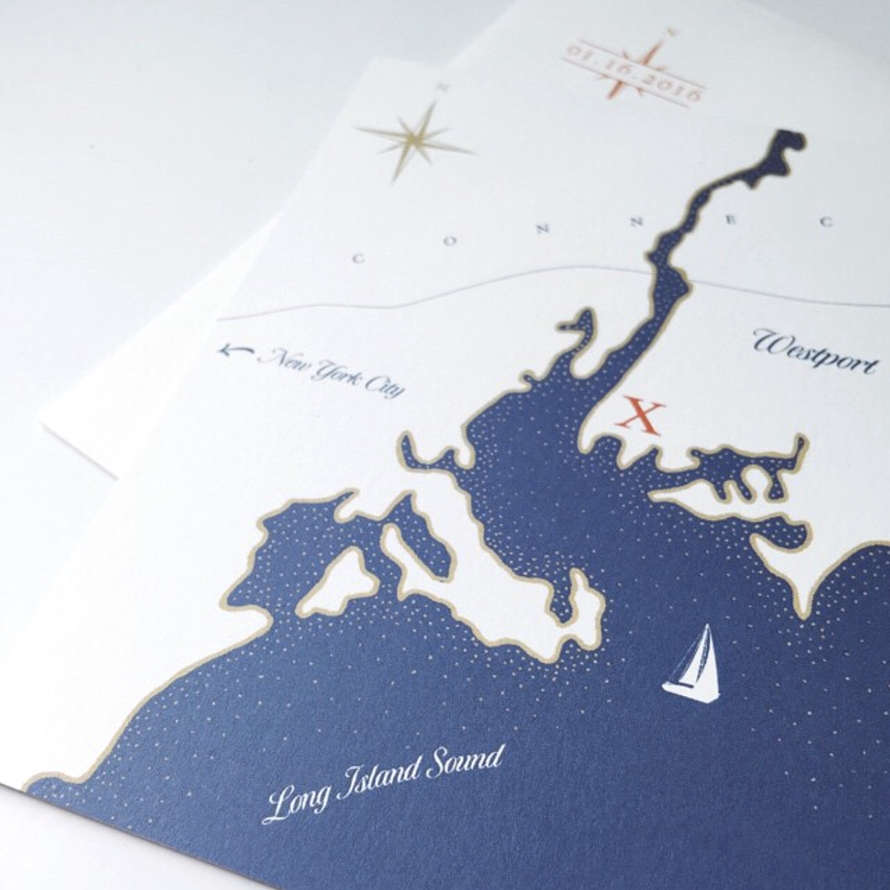 Custom illustrated nautical map for a wedding invitation // design and illustration by Chavelli www.chavelli.com