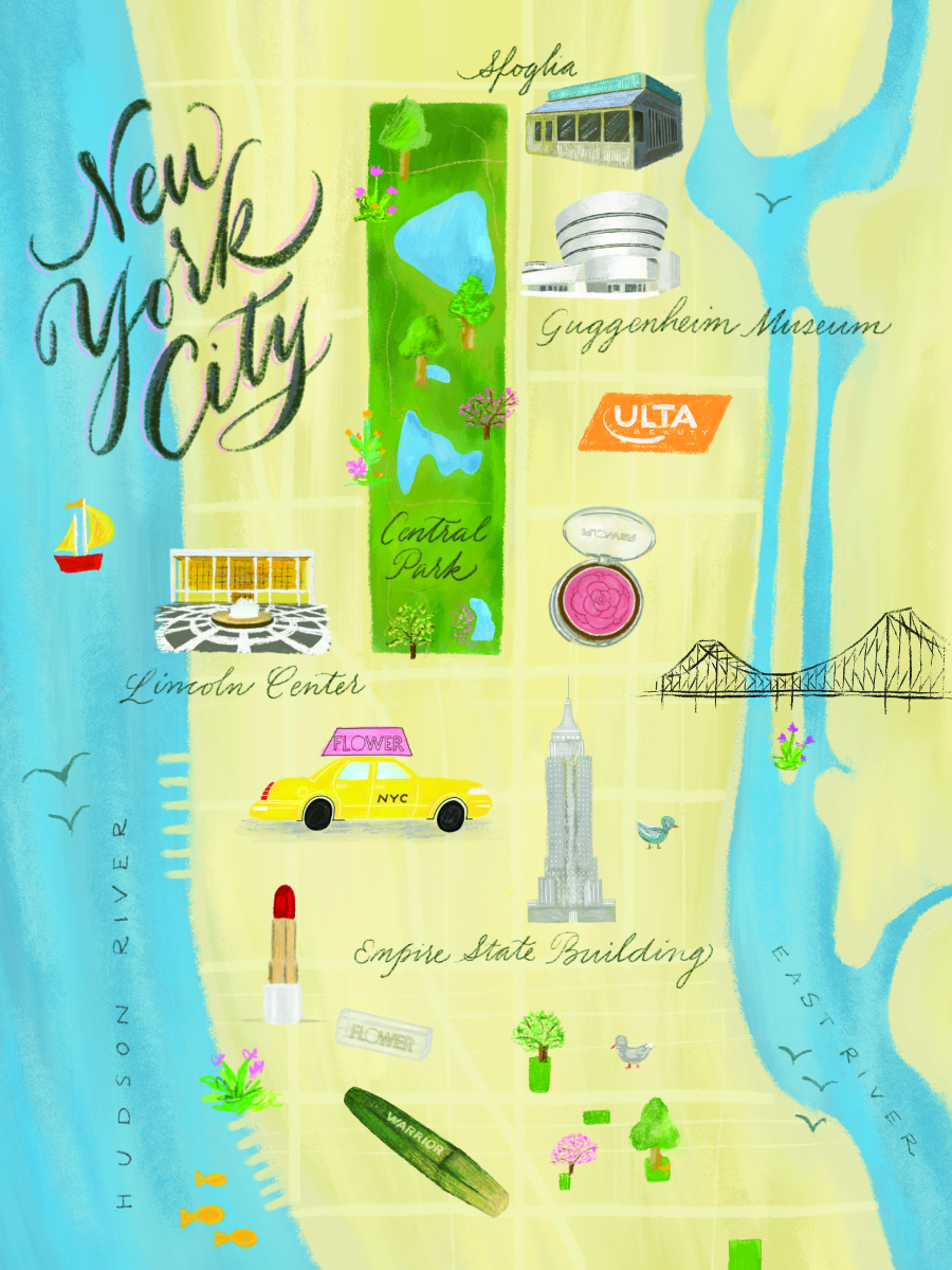 Hand-illustrated map for Drew Barrymore's Flower Beauty cosmetics // by Chavelli www.chavelli.com
