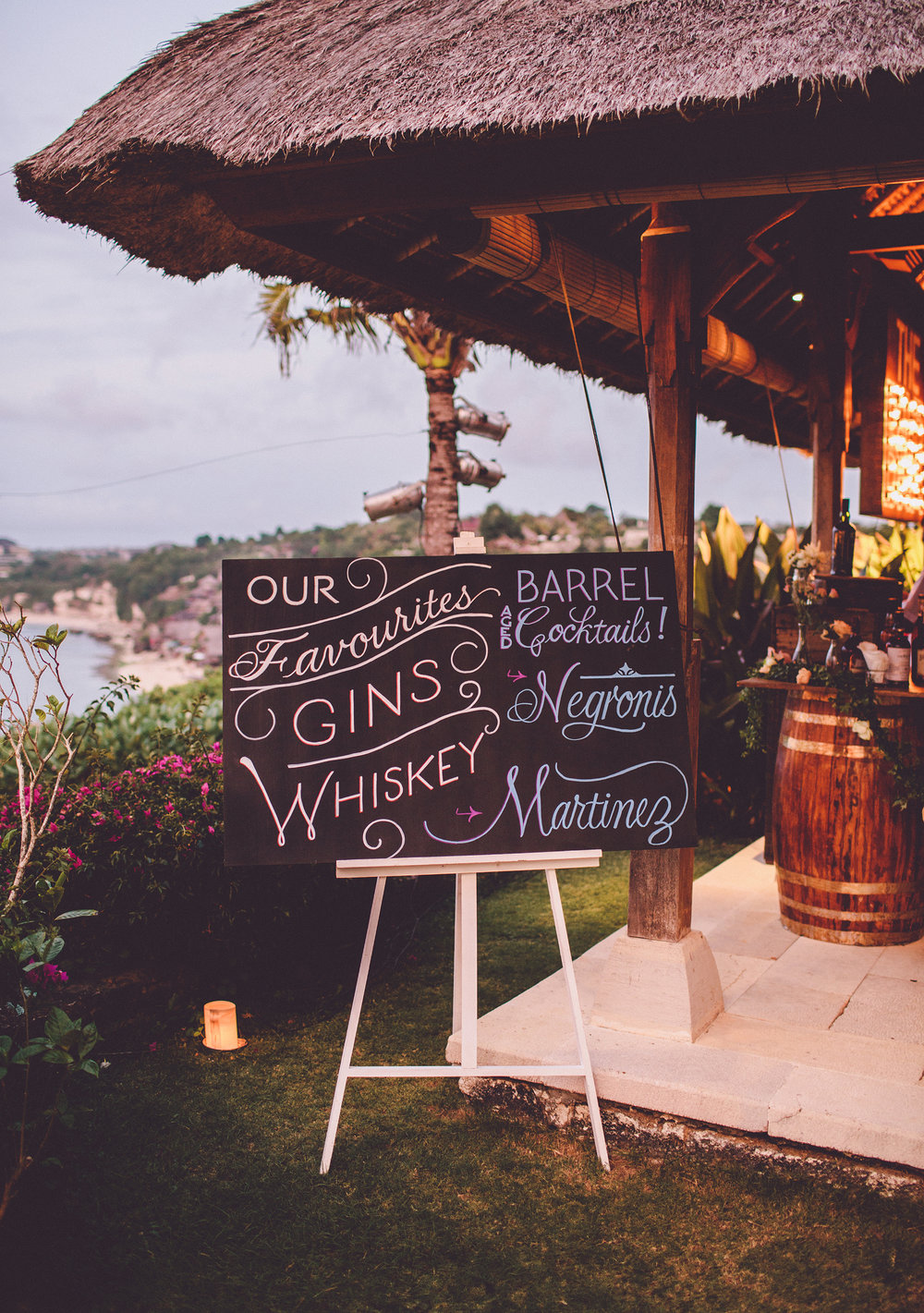 Hand-lettered cocktail bar menu for a Bali wedding // by Chavelli www.chavelli.com