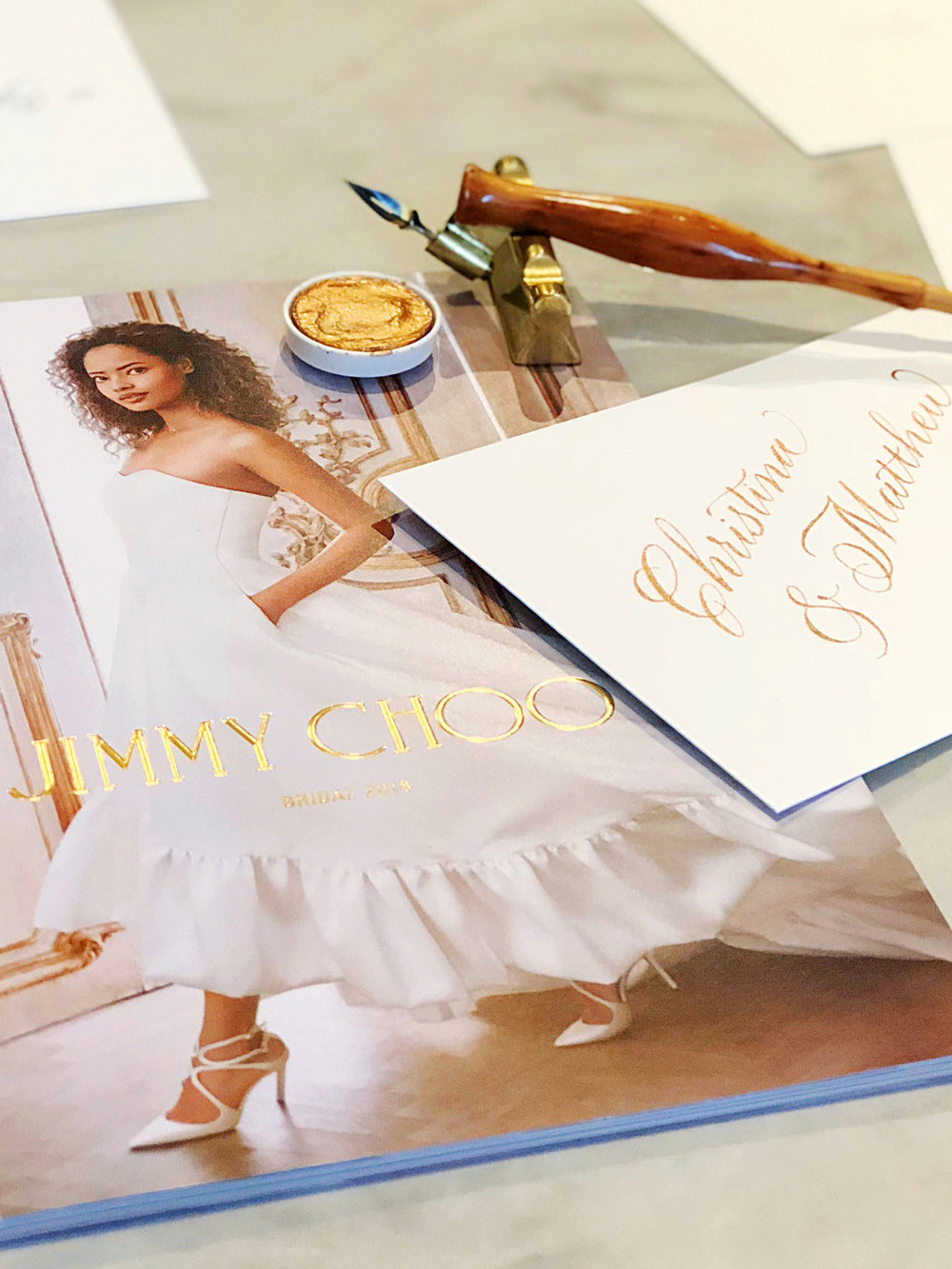 Jimmy Choo on-site calligraphy // www.chavelli.com