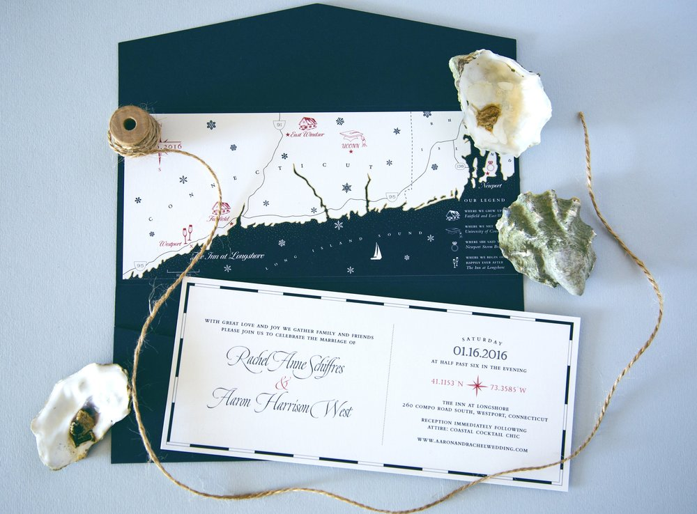 Nautical map wedding invitation // hand-drawn and designed by Chavelli www.chavelli.com