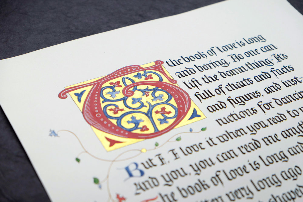 Medieval manuscript-style calligraphy in blackletter by Chavelli www.chavelli.com