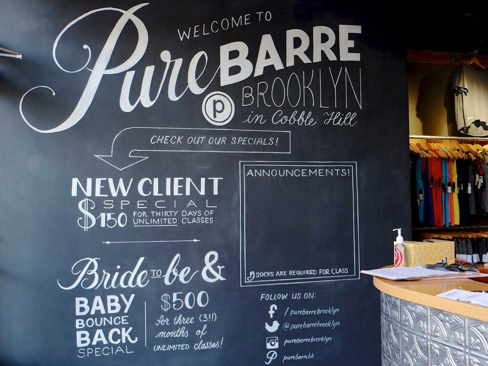 Pure Barre Brooklyn chalkboard mural // lettering by www.chavelli.com
