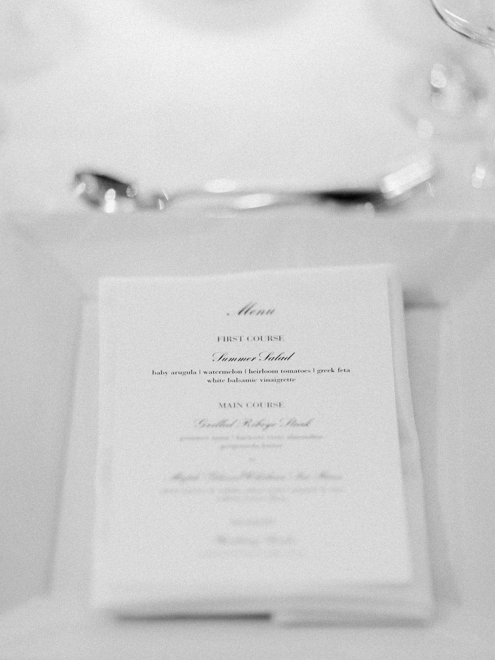 Elegant and crisp, classic black and white wedding dinner menu