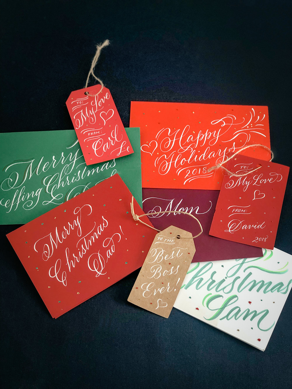 Christmas cards and holiday greetings in script calligraphy // by www.chavelli.com
