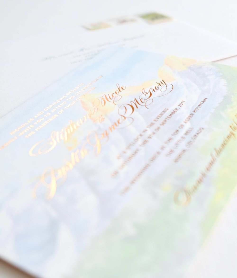 Copper foil stamped over a watercolor painting of the Aspen landscape   www.chavelli.com