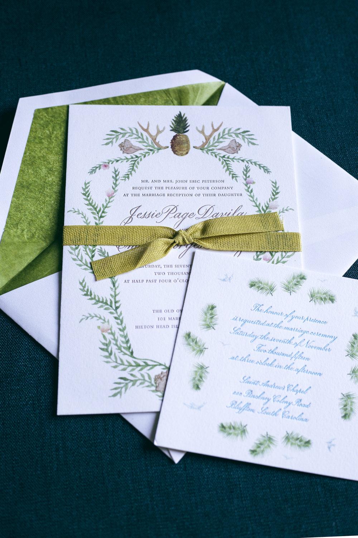 Hilton Head Island flora and fauna watercolor and calligraphy wedding invitation   www.chavelli.com