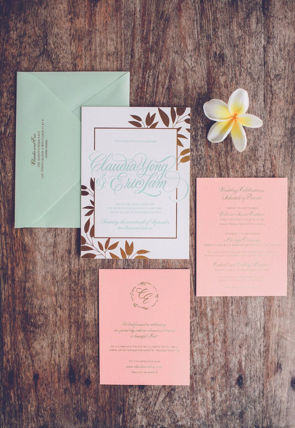 Bali wedding invitations and hand-lettered calligraphy signage | www.chavelli.com