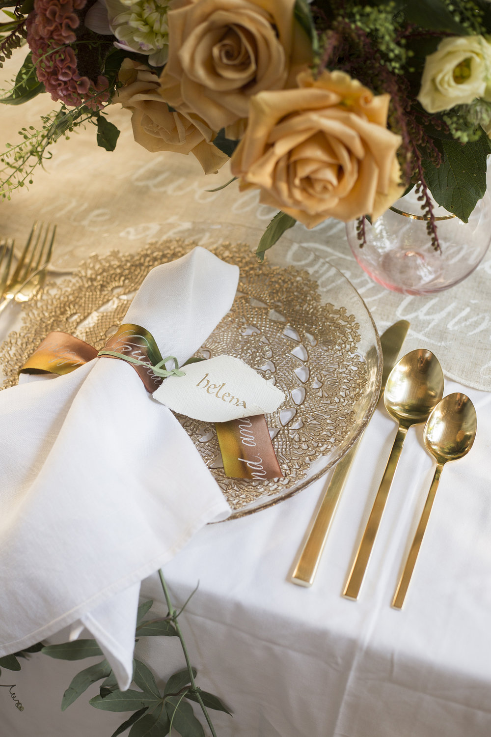 Silk ribbons with calligraphy and scroll place cards   www.chavelli.com