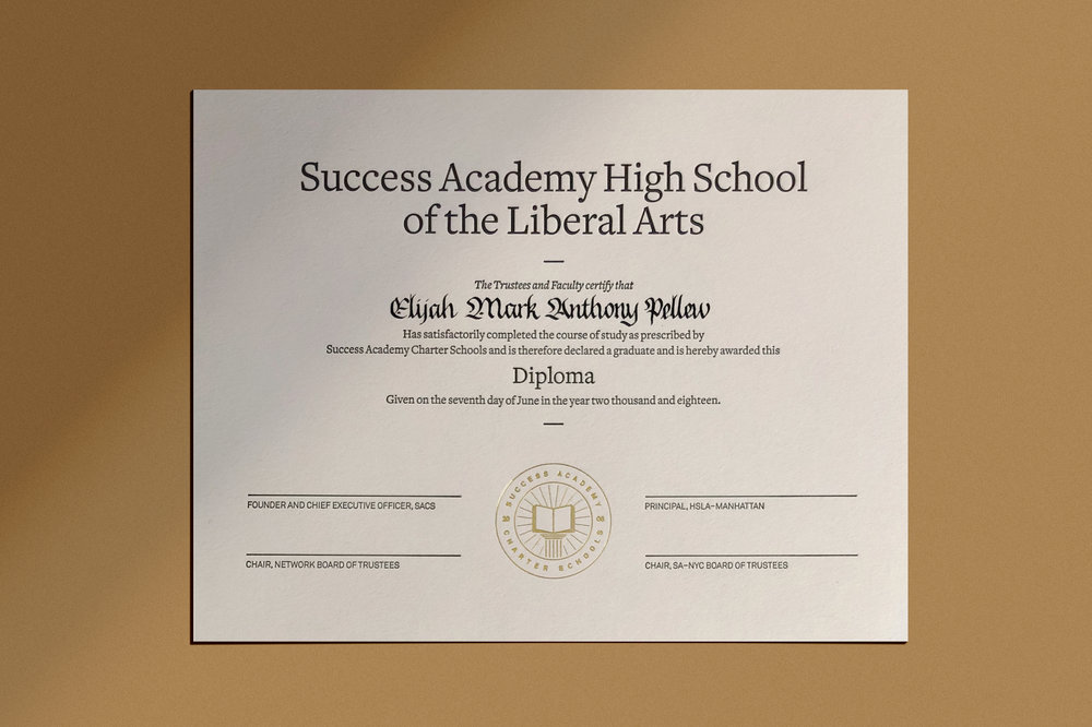Success Academy high school diplomas in blackletter calligraphy | www.chavelli.com