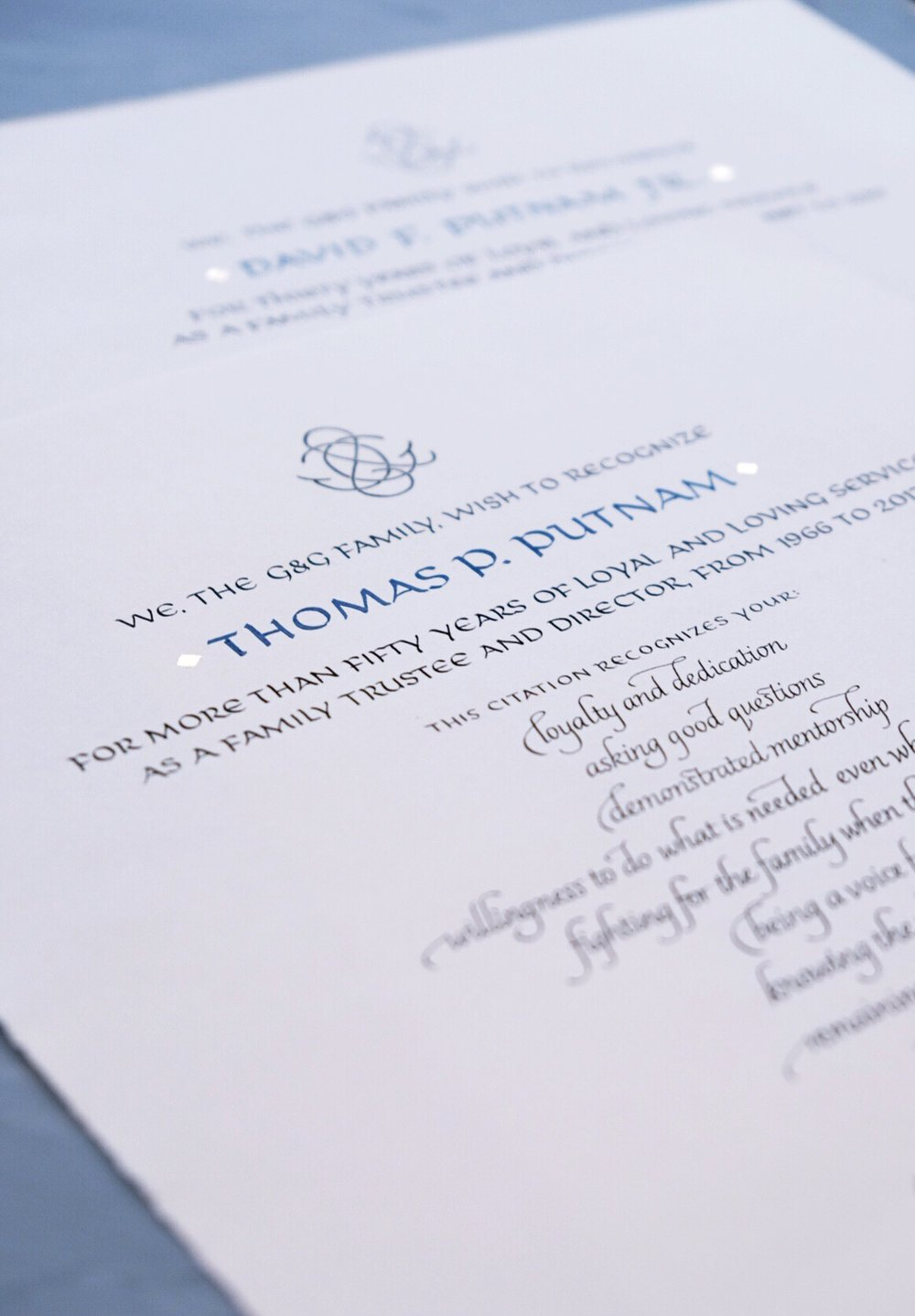 Board of Trustees certificates of recognition, handwritten in calligraphy | www.chavelli.com