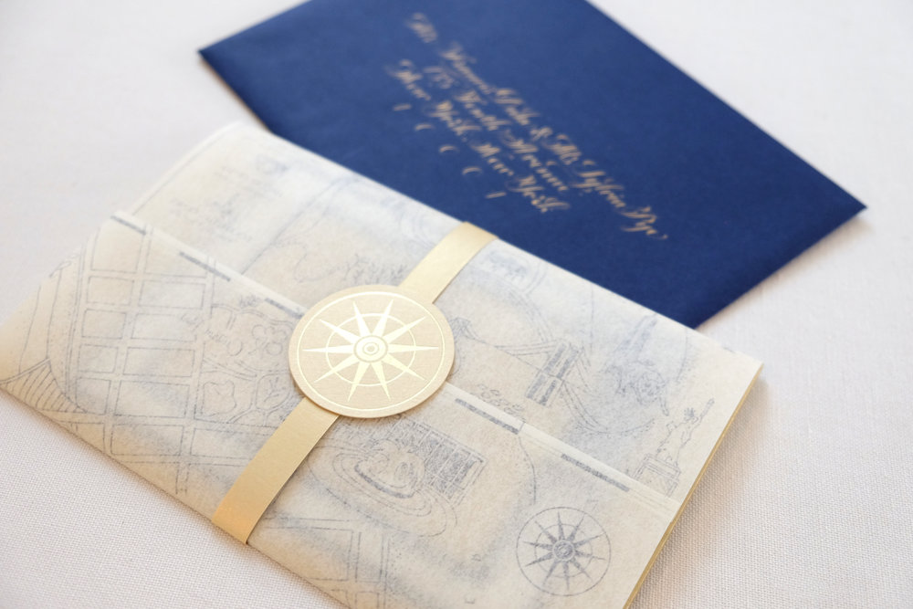 Luxurious Rainbow Room invitation suite with gold foil, edging and calligraphy | www.chavelli.com