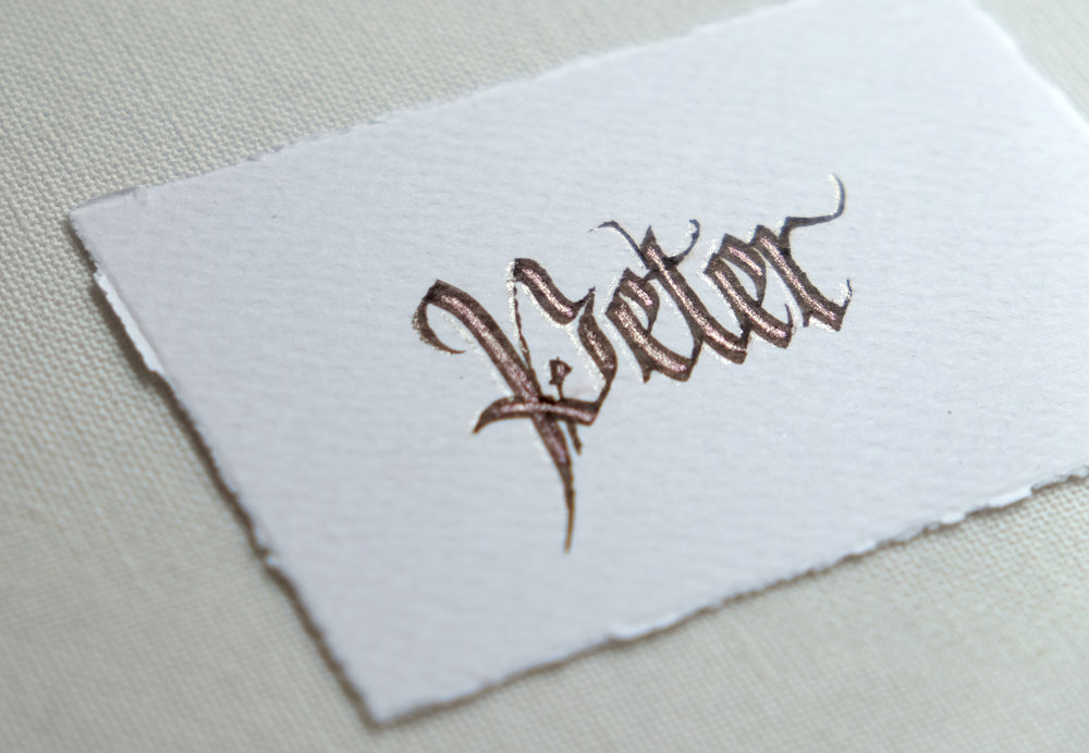 Decorative blackletter calligraphy place card | by www.chavelli.com