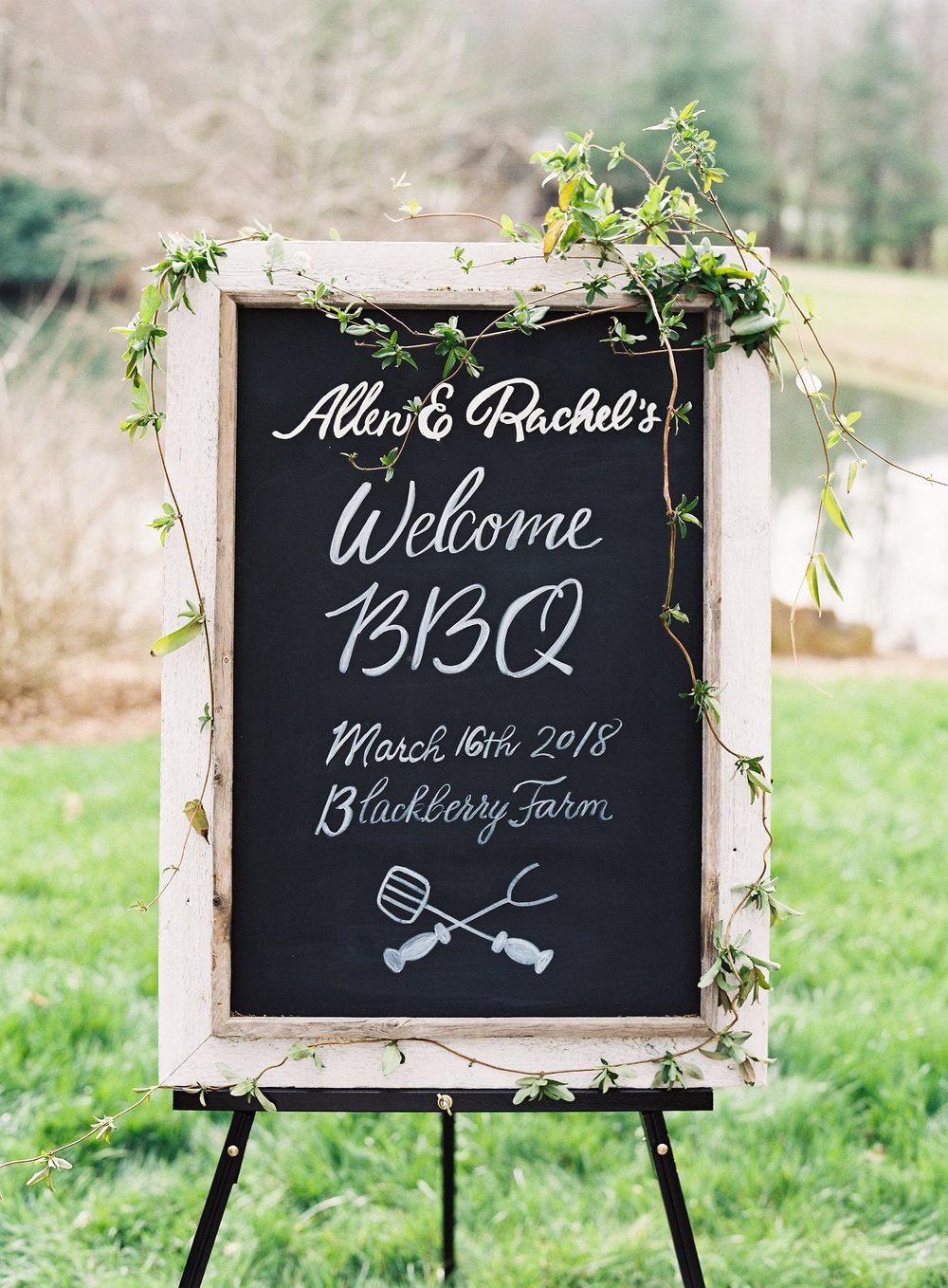 Blackberry Farm wedding welcome barbeque chalk sign with hand-lettering