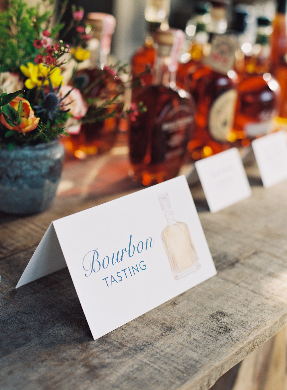 Blackberry Farm Wedding: Welcome BBQ Bourbon Tasting signs | design by Chavelli www.chavelli.com
