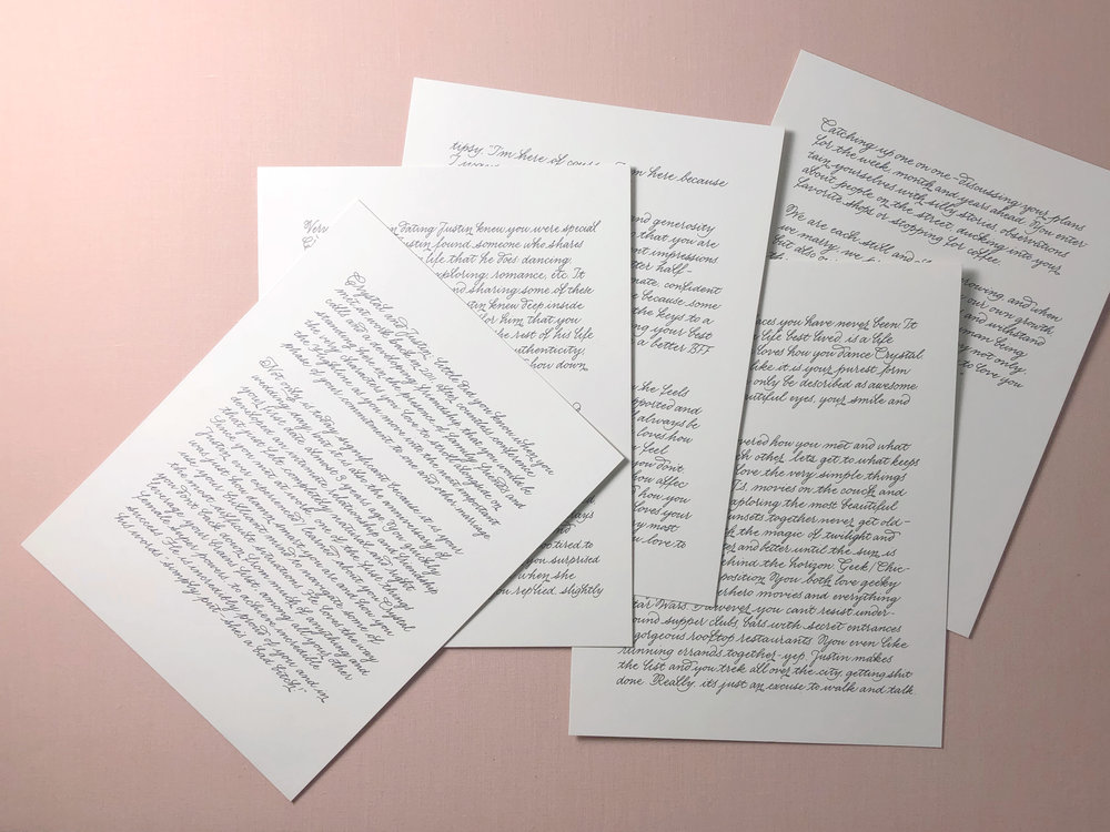A wedding speech written out as a Paper (first) Anniversary gift! | Monoline script by www.chavelli.com