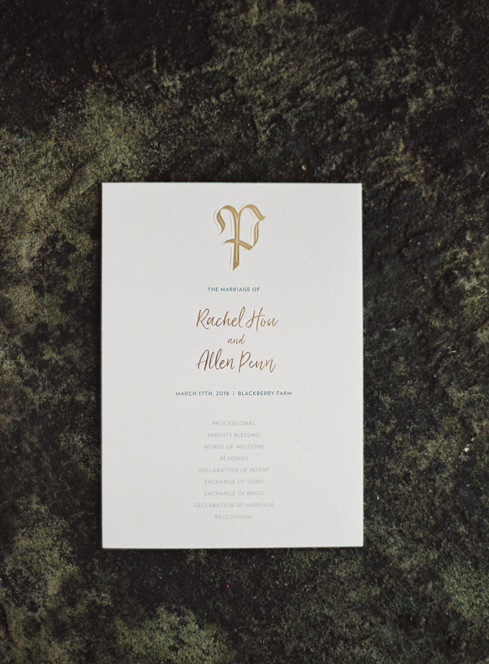 Blackberry Farm Wedding Ceremony Program: monogram and names in rose gold foil with grey ink on thick cotton paper | designed by Chavelli www.chavelli.com