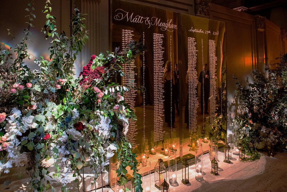 Cipriani Wall Street Wedding: Mirrored Seating Chart in calligraphy | by www.chavelli.com