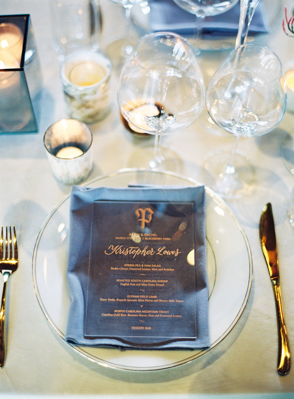 Blackberry Farm Wedding: Acrylic dinner menus printed in rose gold, with names of each guest written in script calligraphy   design and calligraphy by Chavelli www.chavelli.com