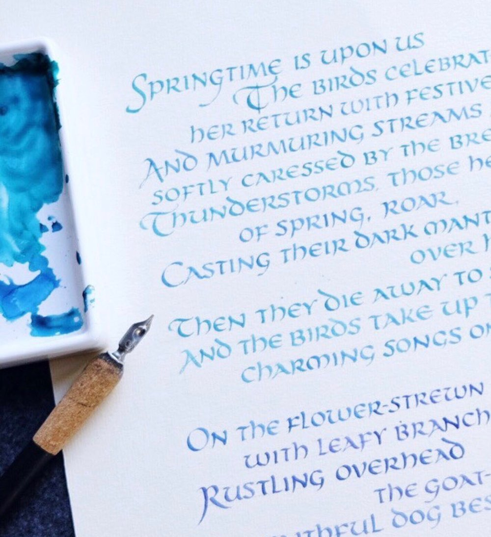 Uncial Poem in ombre ink | by Chavelli www.chavelli.com