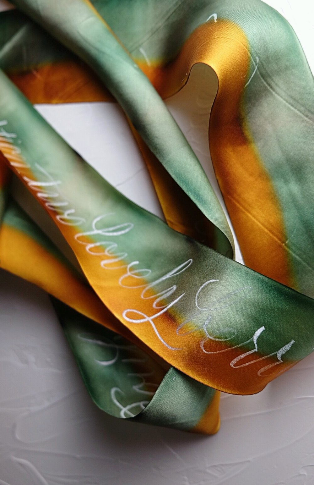 Custom calligraphy on silk ribbon | by Chavelli www.chavelli.com