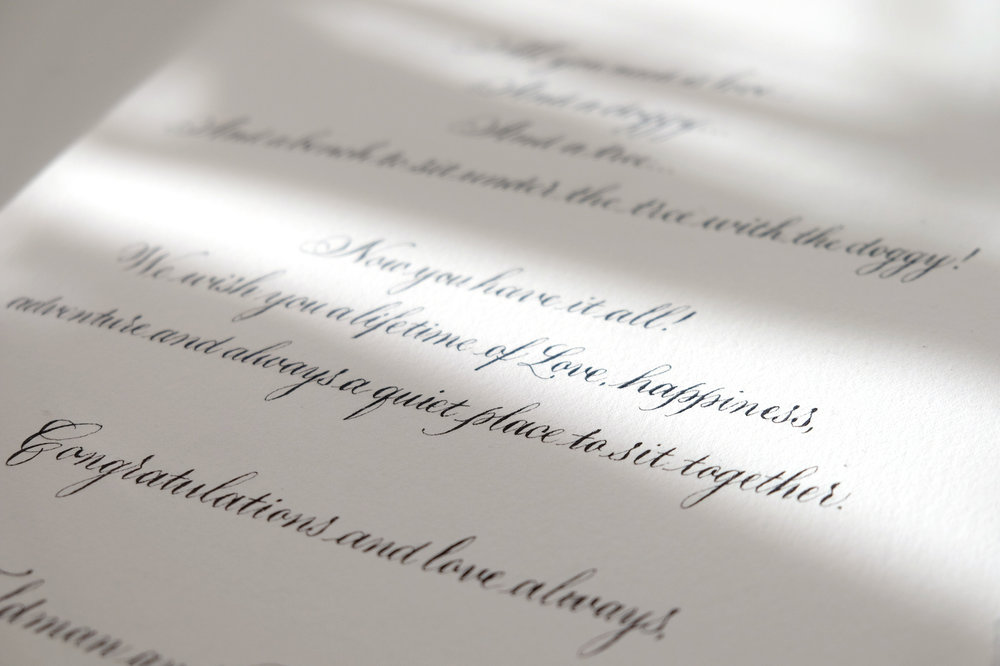 Wedding card written in copperplate calligraphy   by Chavelli www.chavelli.com