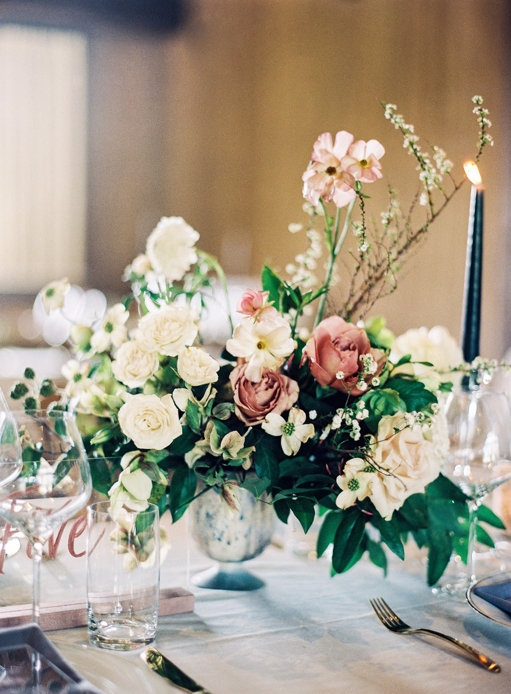 Wedding centerpieces with metallic rose gold calligraphy table numbers on acrylic   lettering by Chavelli www.chavelli.com