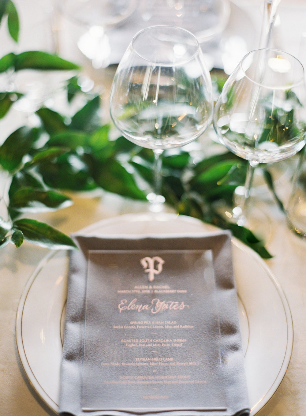 Rose gold printed acrylic wedding dinner menus, with rose gold calligraphy of each guest's name  by Chavelli www.chavelli.com