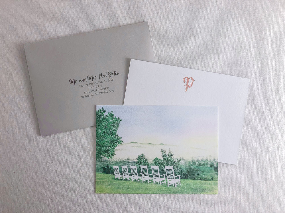 Wedding thank you card featuring a Blackberry Farm venue illustration   design and illustration by Chavelli www.chavelli.com