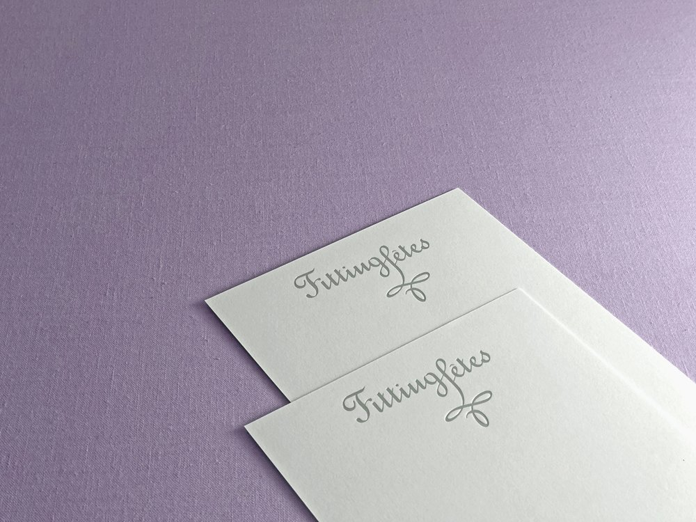 Fitting Fêtes note cards with logo in matte silver foil stamp on cotton paper | designed by www.chavelli.com