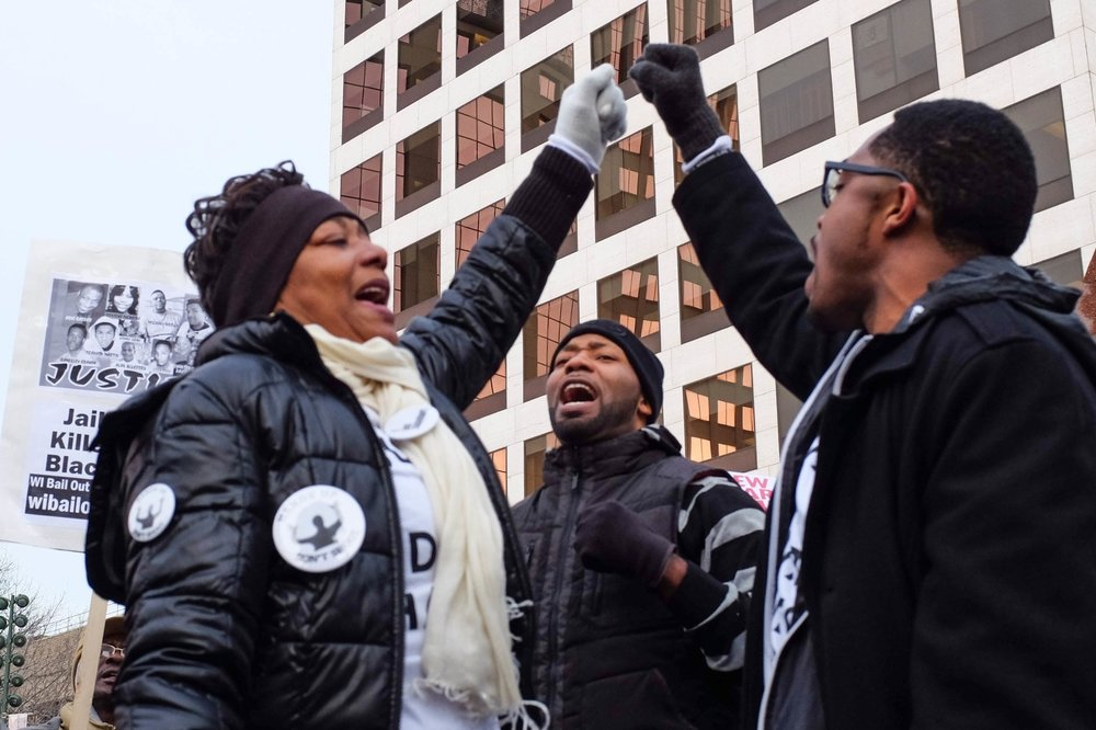 Family and friends of Dontre Hamilton led the march and protest to demand justice for Dontre.