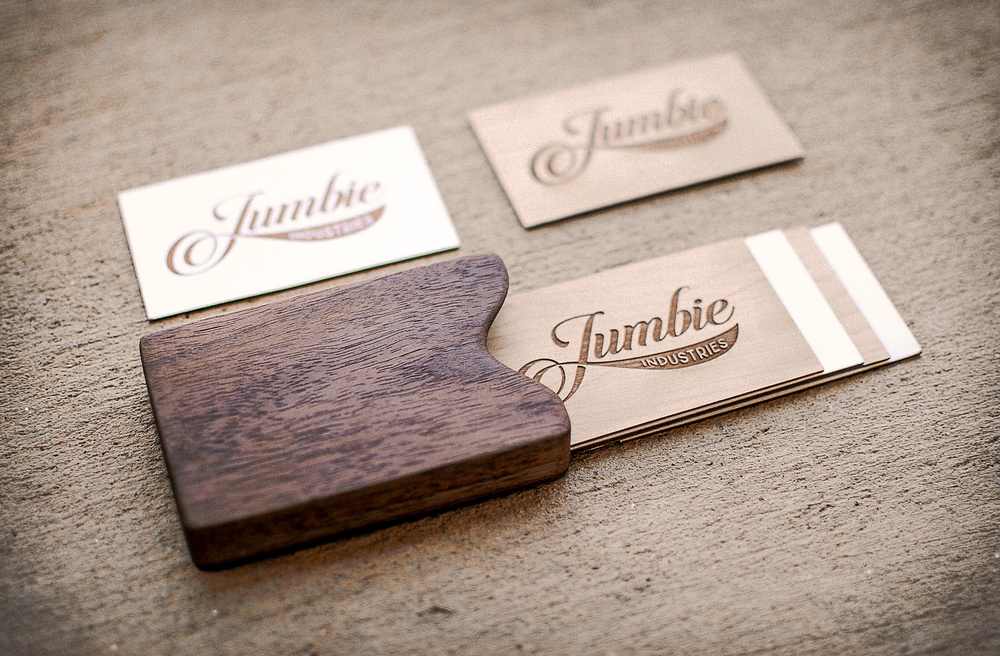 Laser engraved and etched wood and letterpress business cards.