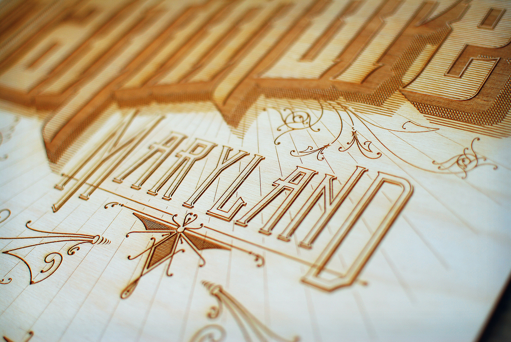 Laser cut, etched, and engraved art piece for Baltimore, Maryland.